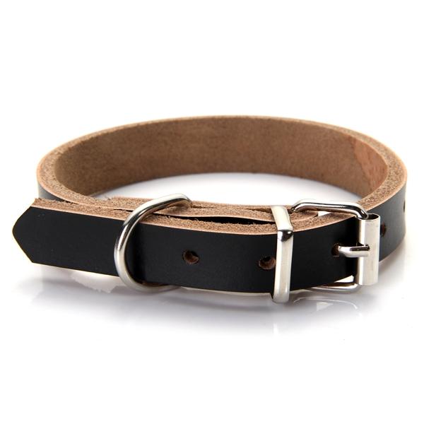 ... Dog Pet Cat Puppy Adjustable Neck Collar Cow Leather black ...