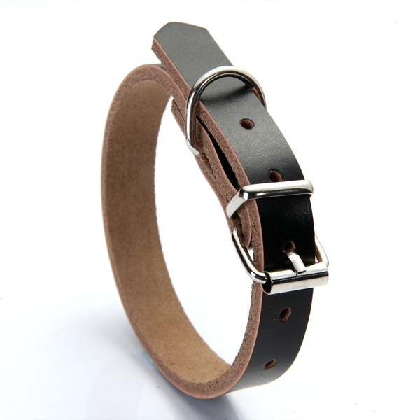 Dog Pet Cat Puppy Adjustable Neck Collar Cow Leather